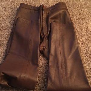 Pants - Vintage brown leather pants